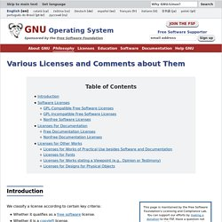 Various Licenses and Comments about Them