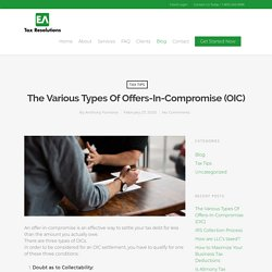 The Various Types of Offers-In-Compromise (OIC)