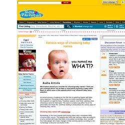 Various ways of choosing baby names