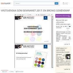 VÄSTSVENSKA SOM-SEMINARIET 2017: EN BROKIG GEMENSKAP - PDF Gratis nedladdning
