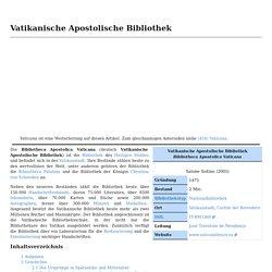 Vatikanische Apostolische Bibliothek - de.LinkFang.org