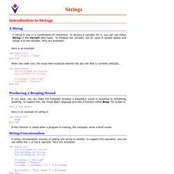 VBA Excel: Strings