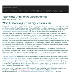Vector Space Models for the Digital Humanities