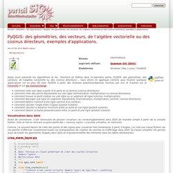 PyQGIS: des géométries, des vecteurs, de l'algèbre vectorielle ou des cosinus directeurs, exemples d'applications.