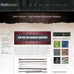 Think Design Blog - Free Vectors - 230 Marker Illustrator Brushes