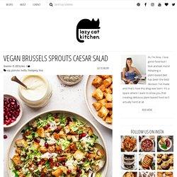 Vegan Brussels sprouts Caesar salad