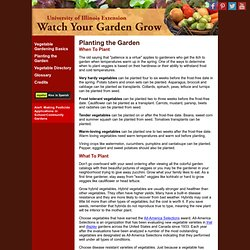 Planting - Vegetable Directory - Watch Your Garden Grow