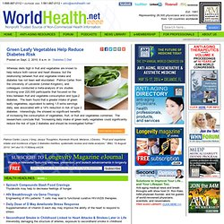 Green Leafy Vegetables Help Reduce Diabetes Risk