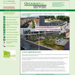 Une toiture végétalisée réalisée par Optigrün : toit vert, végétalisation de toitures, végétalisation de façades, bacs à plantes.