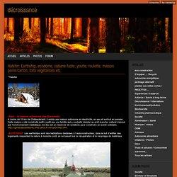 Habiter: Earthship, ecodome, cabane fuste, yourte, roulotte, maison paille/carton, toits végétalisés etc