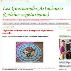 Les Gourmandes Astucieuses (Cuisine végétarienne): Tagliatelles de Poireaux et Bolognaise végétarienne aux radis