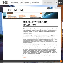End-of-Life Vehicle (ELV) Regulations - Automotive