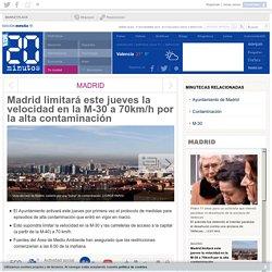 Madrid limitará este jueves la velocidad en la M-30 a 70km/h por la alta contaminación