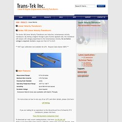 Transducers, Velocity & Position Sensors LVDT sensors by Trans-Tek