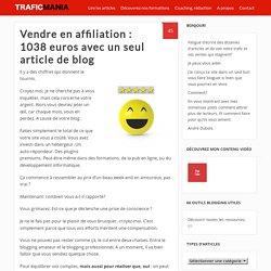 Vendre en affiliation : 1038 euros avec un seul article de blog
