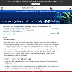 Venezuelan Migration and the Border Health Crisis in Colombia and Brazil - Shannon Doocy, Kathleen R. Page, Fernando de la Hoz, Paul Spiegel, Chris Beyrer, 2019