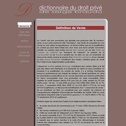 Dictionnaire juridique - Définition de Vente