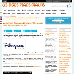 Vente Flash Disneyland Paris 35 euros le billet 1 jour / 2 parcs en juin