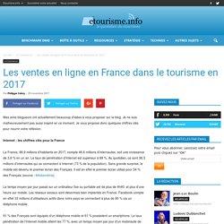 Les ventes en ligne en France dans le tourisme en 2017
