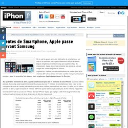 Ventes de Smartphone, Apple passe devant Samsung - iPhone 6, 6 Plus, iPad et Apple Watch : blog et actu par iPhon.fr
