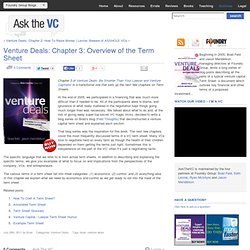 Venture Deals: Chapter 3: Overview of the Term Sheet
