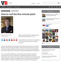 How to nail the five-minute pitch