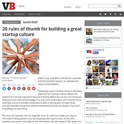 20 rules of thumb for building a great startup culture