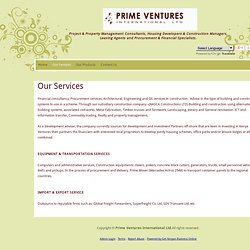 PRIME VENTURES International Ltd. - Our Services