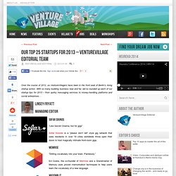 Our top 25 startups for 2013 - VentureVillage editorial team