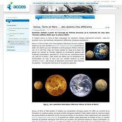 Venus, Terre et Mars ... des destins très différents