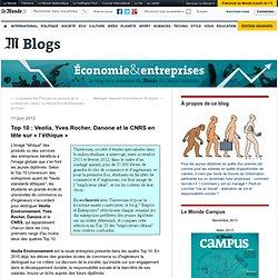 Top 10 : Veolia, Yves Rocher, Danone et le CNRS en tête sur «l'éthique»