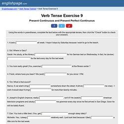 Verb Tense Exercise 9