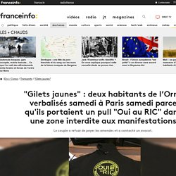 """""""Gilets jaunes"""": deux habitants de l'Orne verbalisés samedi à Paris samedi parce qu'ils portaient un pull """"Oui au RIC"""" dans une zone interdite aux manifestations"""