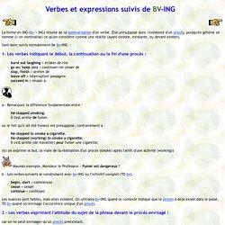 Verbes et expressions suivis de ING
