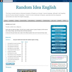 Random Idea English: Verbs with two objects