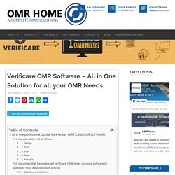 Verificare OMR Software - All in One Solution for all your OMR Needs - OMR Home Blog