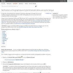 Vérification orthographique et grammaticale dans une autre langue - Outlook