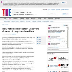 THE: New verification system uncovers dozens of bogus universities