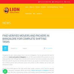 Find Verified Movers And Packers In Bangalore For Complete Shifting Tasks