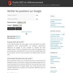Vérifier les positions sur Google