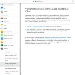 Vérifier l'utilisation de votre espace de stockage iCloud - Aide iCloud