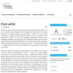 Post-vérité - La revue européenne des médias et du numérique