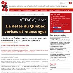 « La dette du Québec : vérités et mensonges » - un nouveau livre d'Attac Québec en librairies !