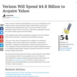 Verizon Will Spend $4.8 Billion to Acquire Yahoo