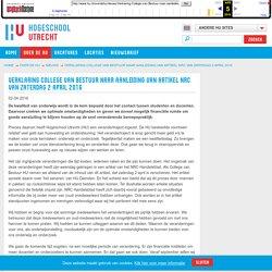 Verklaring College van Bestuur naar aanleiding van artikel NRC van zaterdag 2 april 2016 - Hogeschool Utrecht