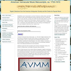 Search - American Vernacular Music Manuscripts