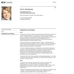 FHNW - Prof. Dr. Ulla Klingovsky - Publikationen - Veröffentlichungen - Institut Weiterbildung und Beratung - Fachhochschule Nordwestschweiz