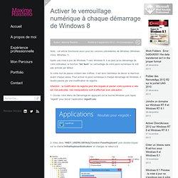 Activer le verrouillage numérique à chaque démarrage de Windows 8