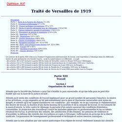 Traité de Versailles 1919, Organisation du travail, MJP