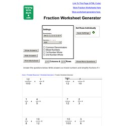 A Funky and Versatile Fraction Worksheet Generator